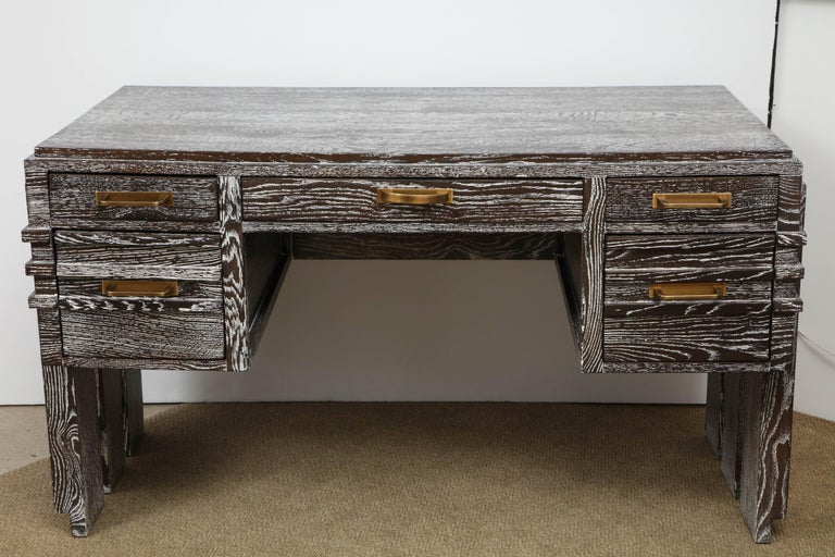 Modernist cerused oak desk attributed to Charles Dudouyt, bronze finished pulls, restored to perfection. Beautiful warm patina.