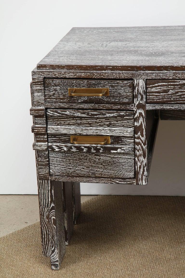 Mid-Century Modern Modernist Cerused Oak Desk, France, 1950 For Sale