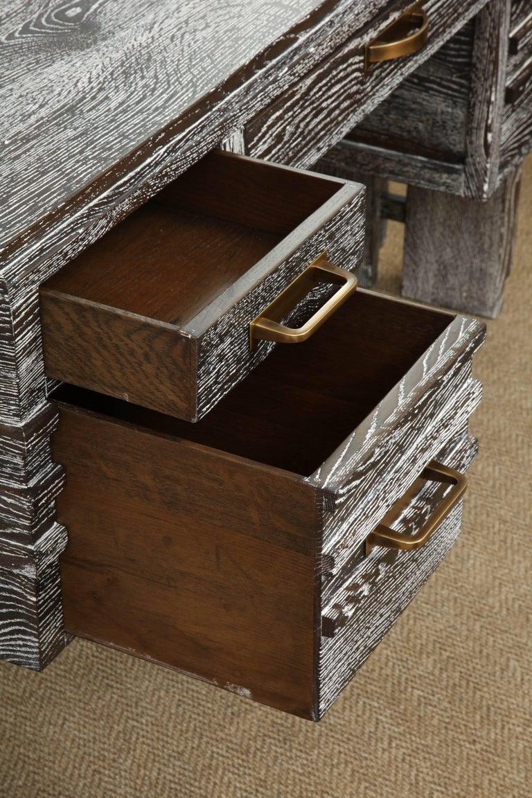 French Modernist Cerused Oak Desk, France, 1950 For Sale