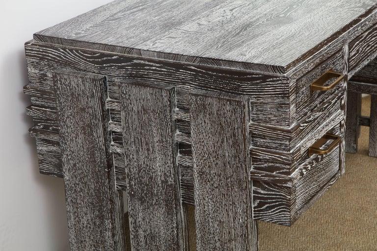 20th Century Modernist Cerused Oak Desk, France, 1950 For Sale