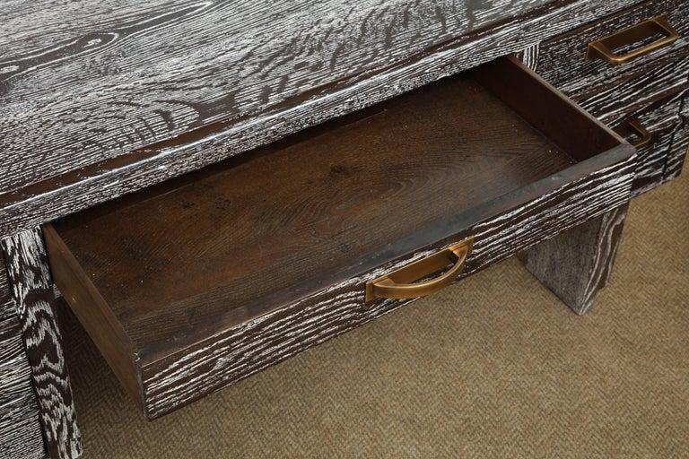 Modernist Cerused Oak Desk, France, 1950 For Sale 1