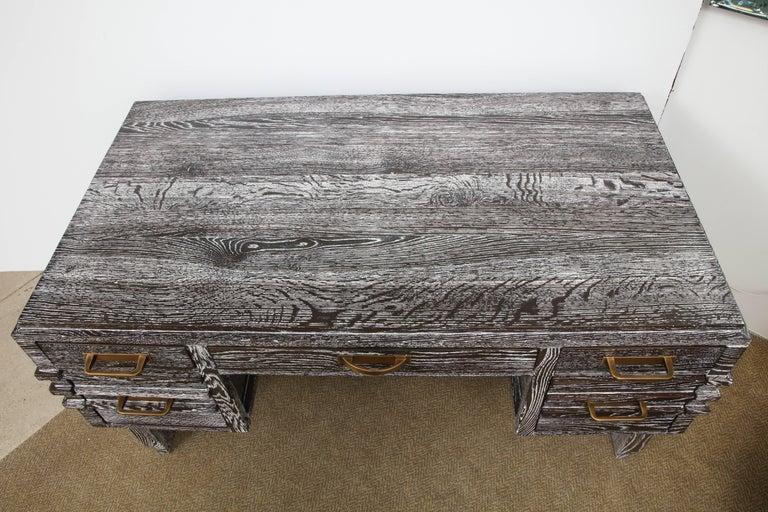 Modernist Cerused Oak Desk, France, 1950 For Sale 2