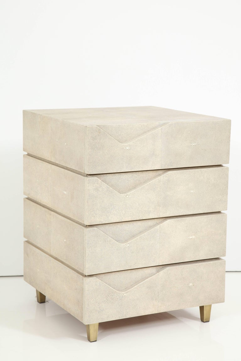 Shagreen Side Table/ Nightstand with Bronze Legs Offered by Area ID 2