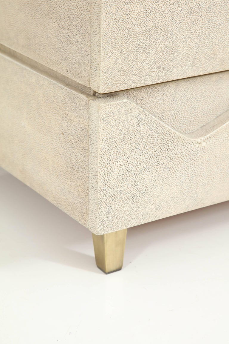 Shagreen Side Table/ Nightstand with Bronze Legs Offered by Area ID 4