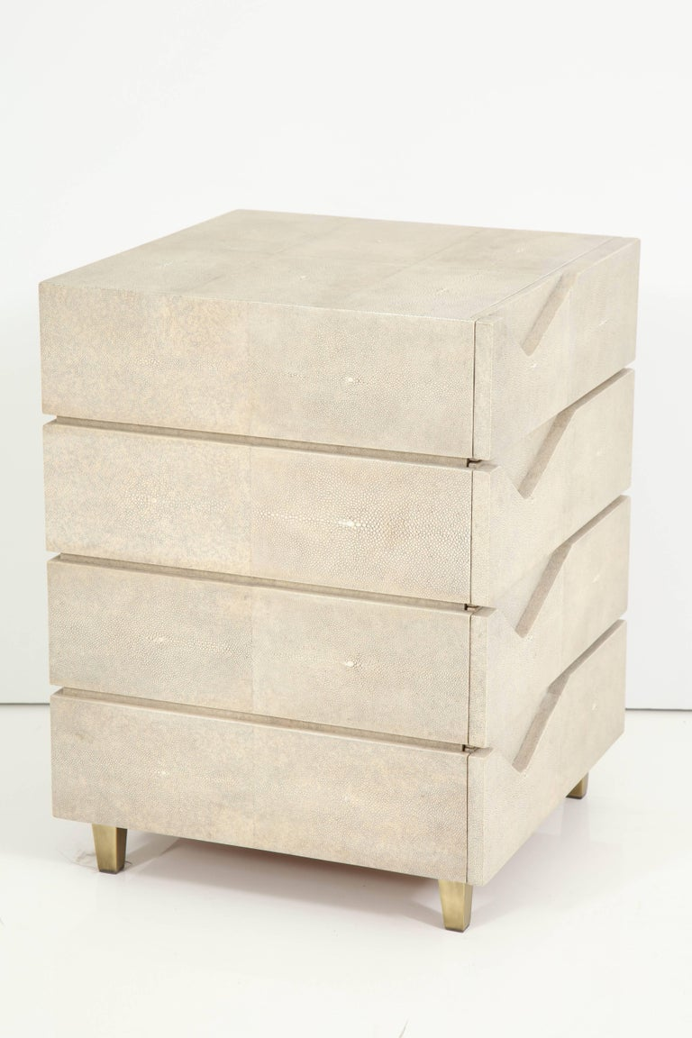 Shagreen Side Table/ Nightstand with Bronze Legs Offered by Area ID 7