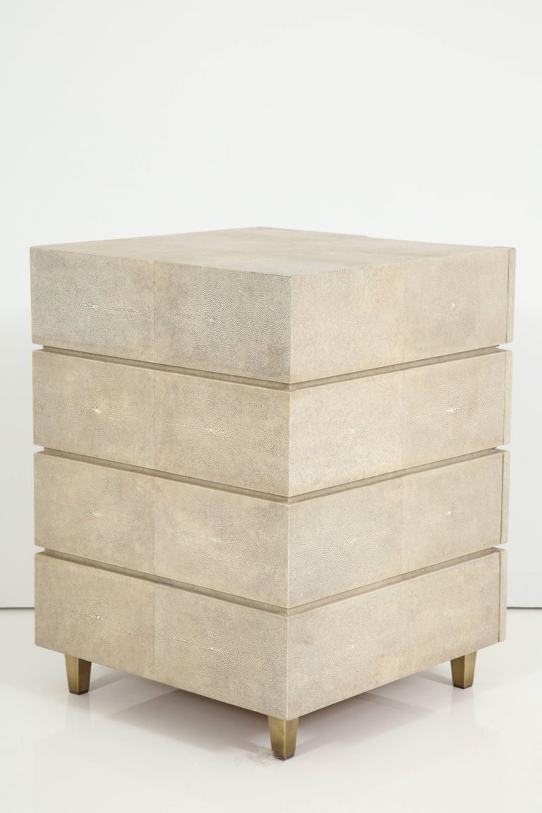 Shagreen Side Table/ Nightstand with Bronze Legs Offered by Area ID 8