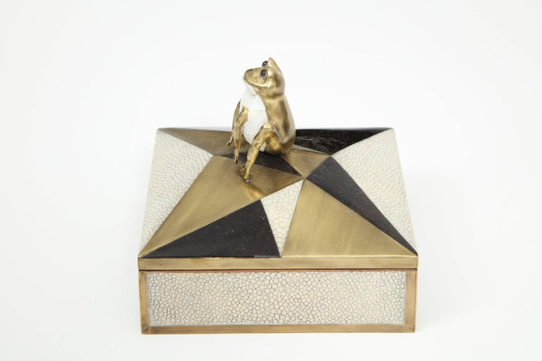 Art Deco Box, Shagreen, Palm Wood and Bronze, Offered by Area ID For Sale