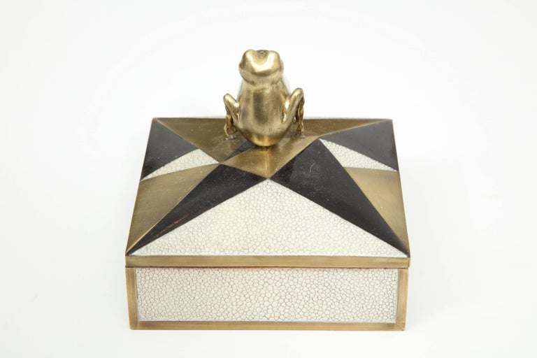 French Box, Shagreen, Palm Wood and Bronze, Offered by Area ID For Sale