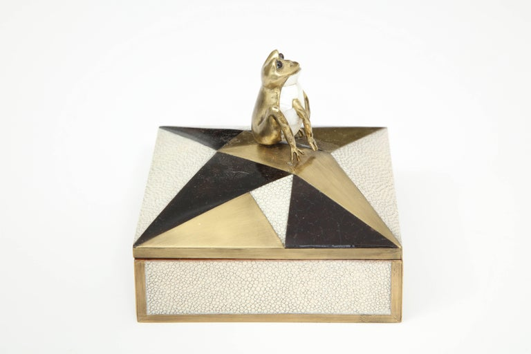 Hand-Crafted Box, Shagreen, Palm Wood and Bronze, Offered by Area ID For Sale