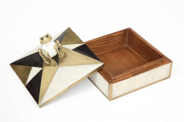 Box, Shagreen, Palm Wood and Bronze, Offered by Area ID In Excellent Condition For Sale In New York, NY