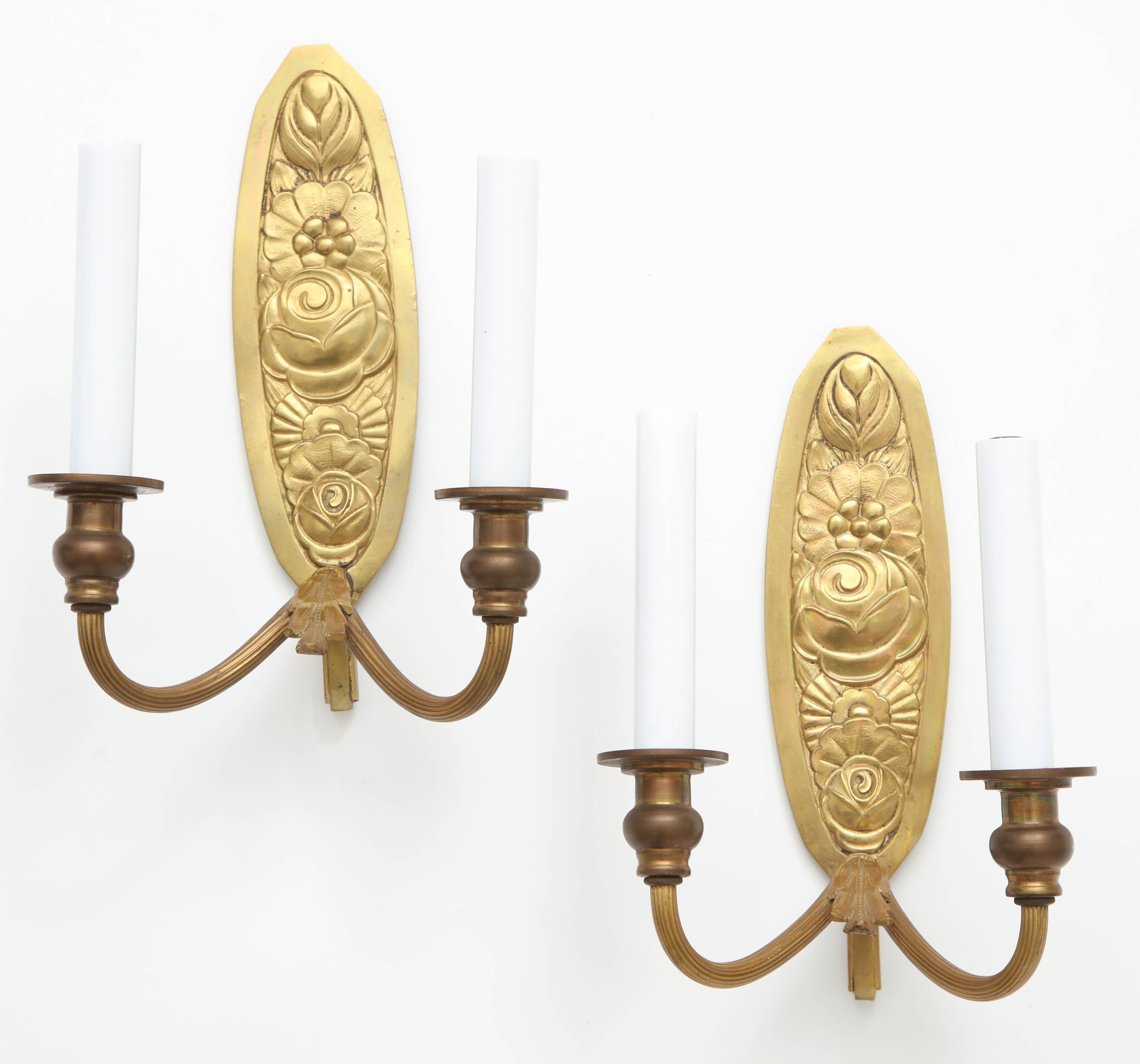 Pair Of Vintage French Bronze Wall Candle Sconces For Sale At 1stdibs