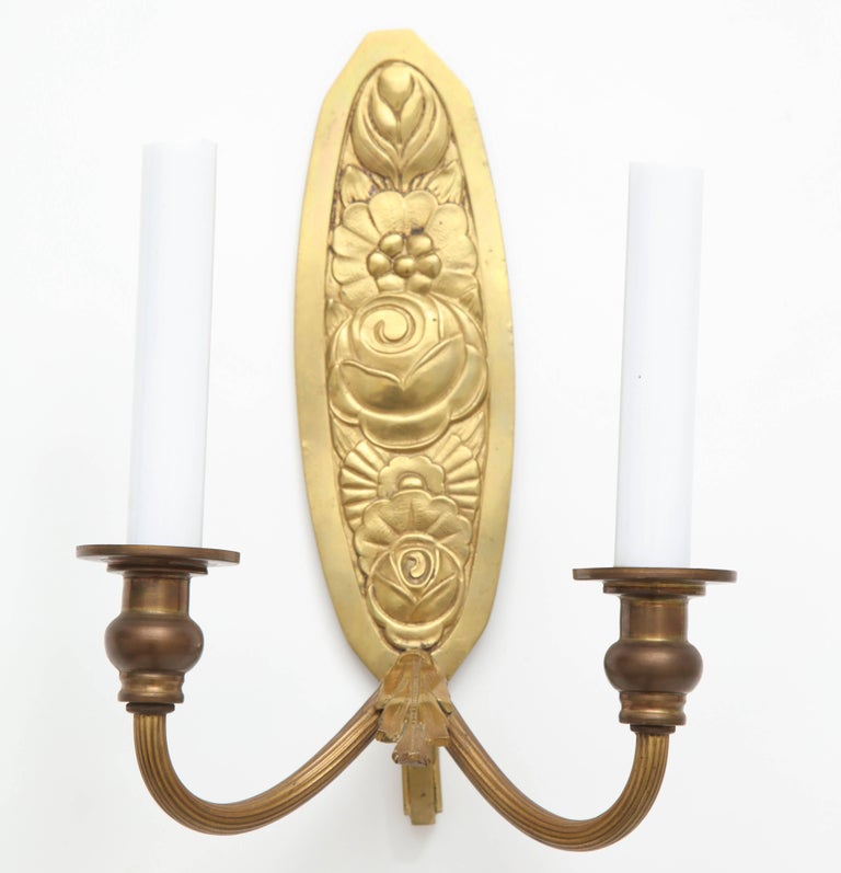 Mid-20th Century Pair of Vintage French Bronze Wall Candle Sconces For Sale