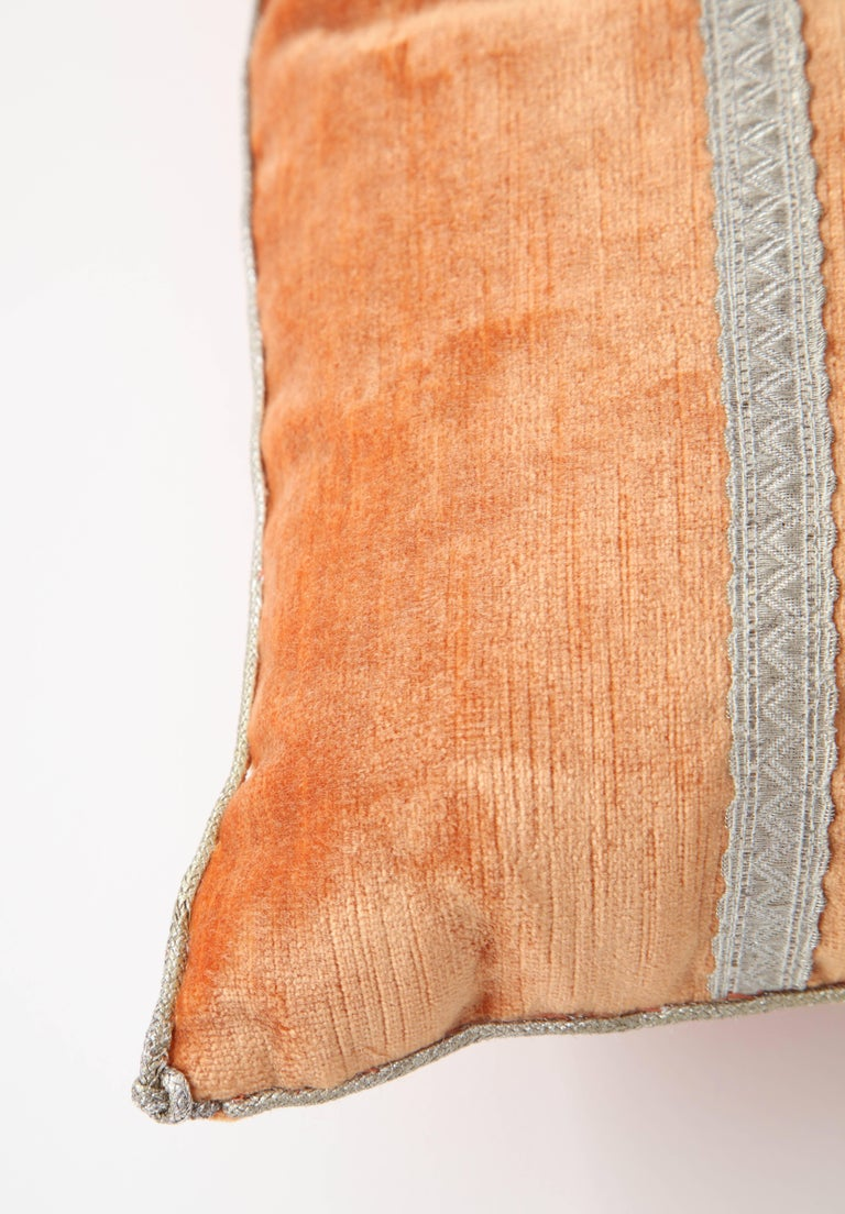 Velvet Pillow with Antique Metallic Accents In Excellent Condition For Sale In New York, NY