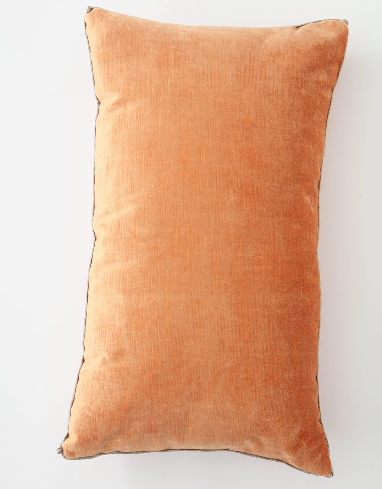 Contemporary Velvet Pillow with Antique Metallic Accents For Sale
