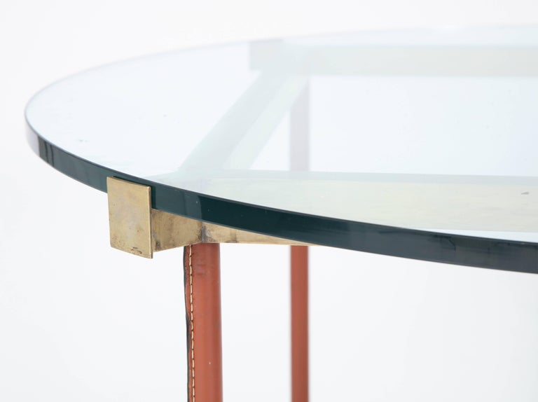 Mid-Century Modern Jacques Adnet Leather Covered and Brass Centre Table For Sale