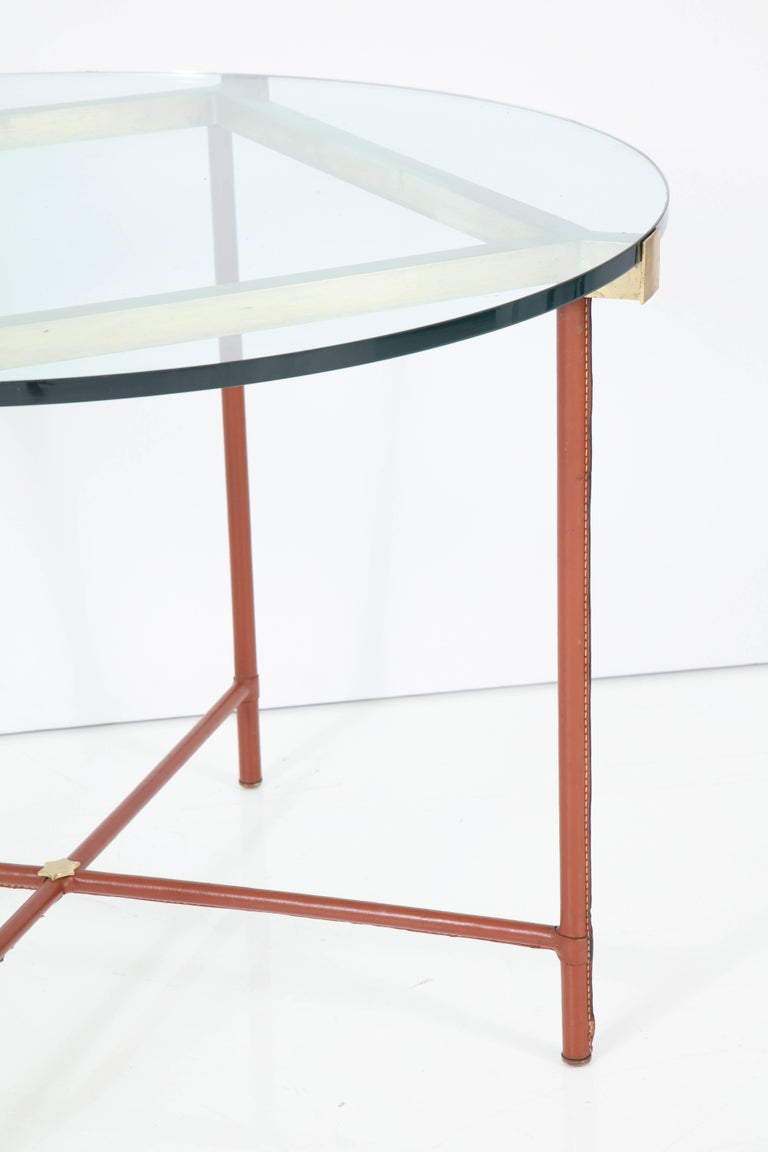 Jacques Adnet Leather Covered and Brass Centre Table For Sale 1