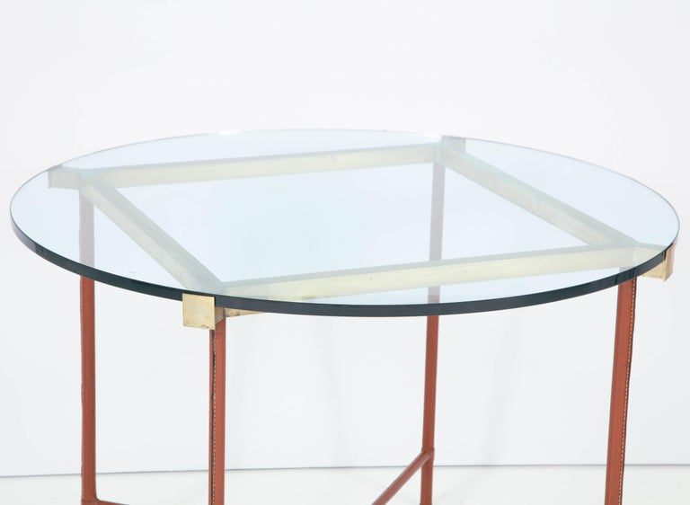 Jacques Adnet Leather Covered and Brass Centre Table For Sale 2