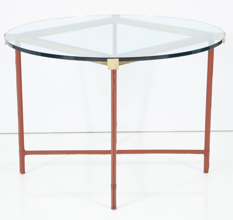 Jacques Adnet Leather Covered and Brass Centre Table For Sale 3