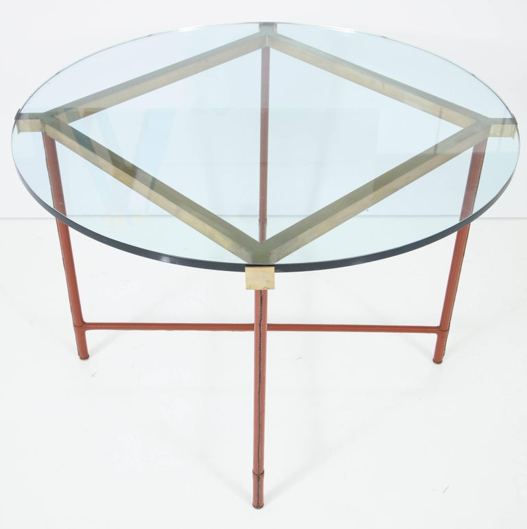 Jacques Adnet Leather Covered and Brass Centre Table For Sale 4