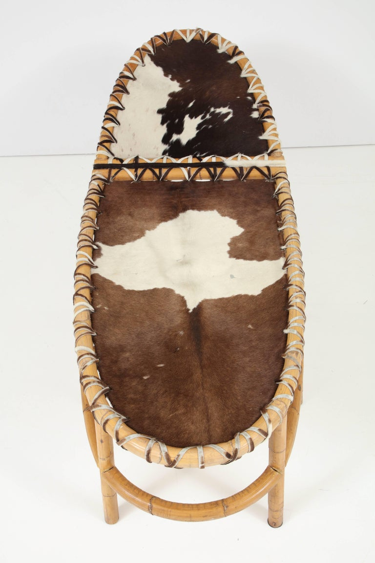 Bamboo and Cowhide Chaise Longue 7