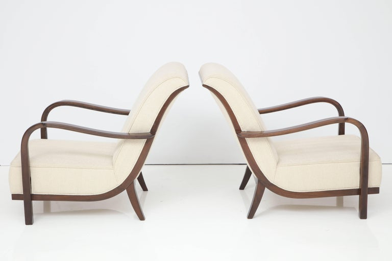 Walnut Pair of Italian Armchairs Attributed to Paolo Buffa For Sale