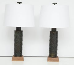 "Pair of Bronze ""Intreciatto"" Lamps by Braun"