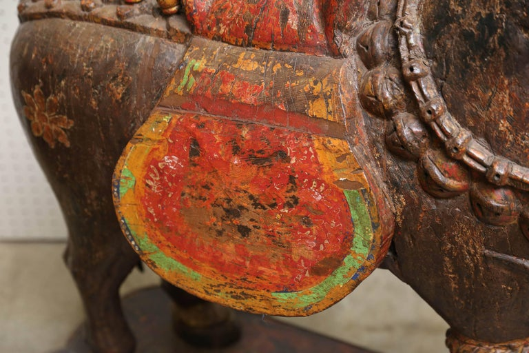 Tibetan Pair of Late 19th Century Solid Wood Horses from a Temple in Bhutan For Sale