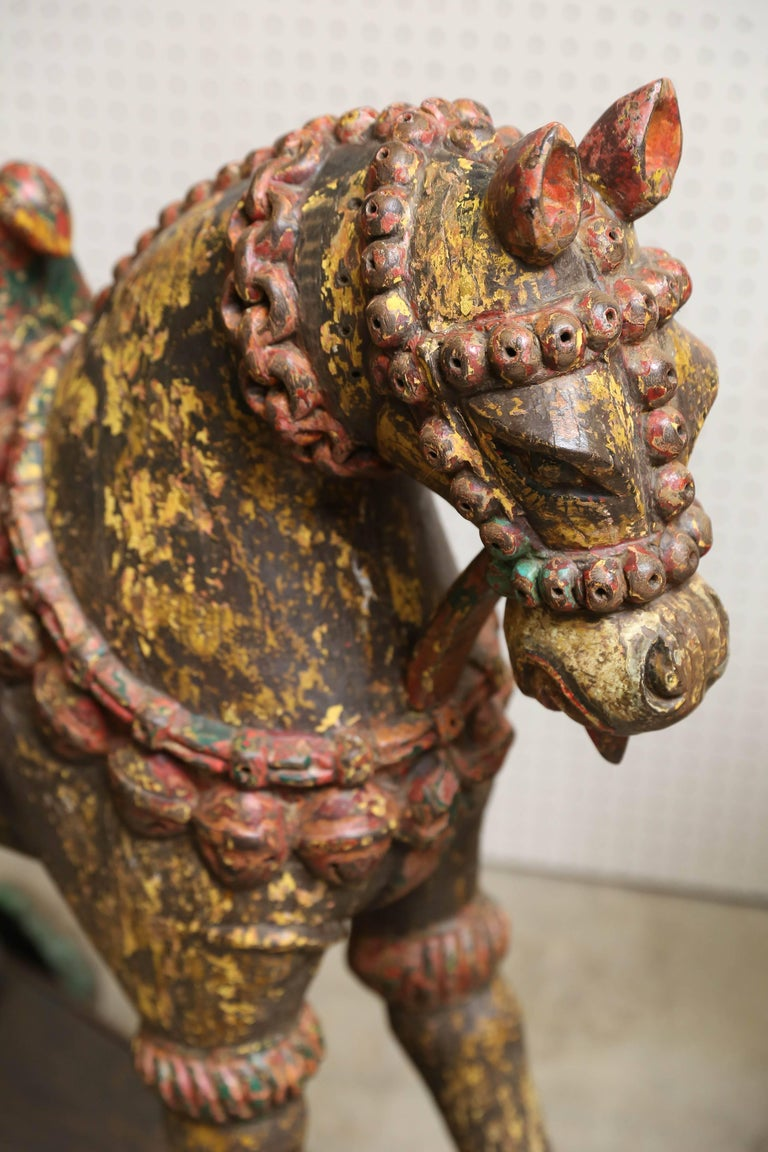 Pair of Late 19th Century Solid Wood Horses from a Temple in Bhutan In Good Condition For Sale In Houston, TX
