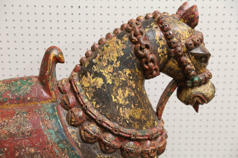 Pair of Late 19th Century Solid Wood Horses from a Temple in Bhutan For Sale 1
