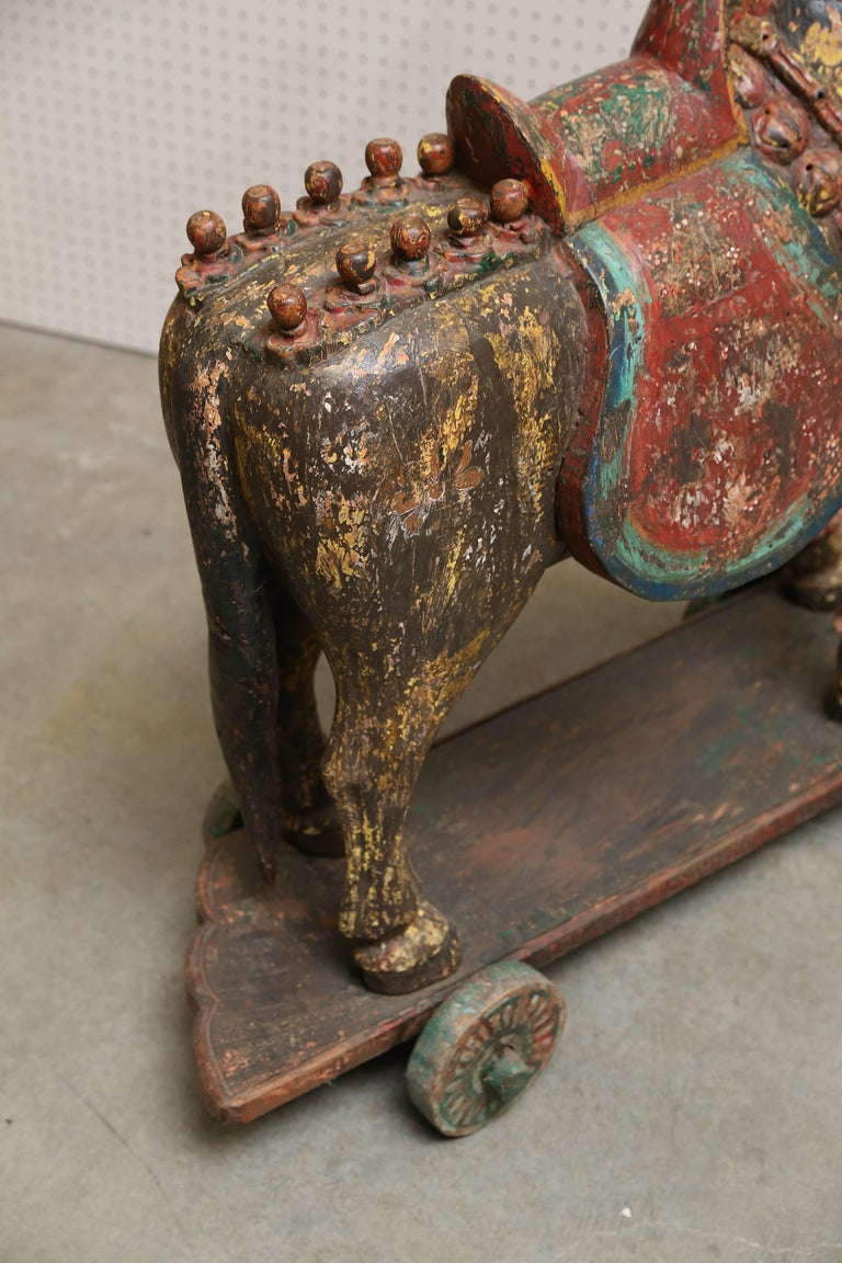 Pair of Late 19th Century Solid Wood Horses from a Temple in Bhutan For Sale 3