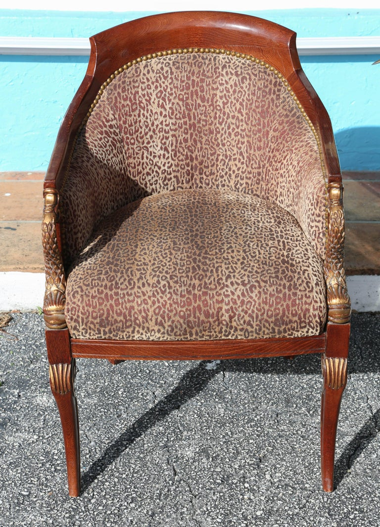 American Pair of Hollywood Regency Tub Chairs For Sale