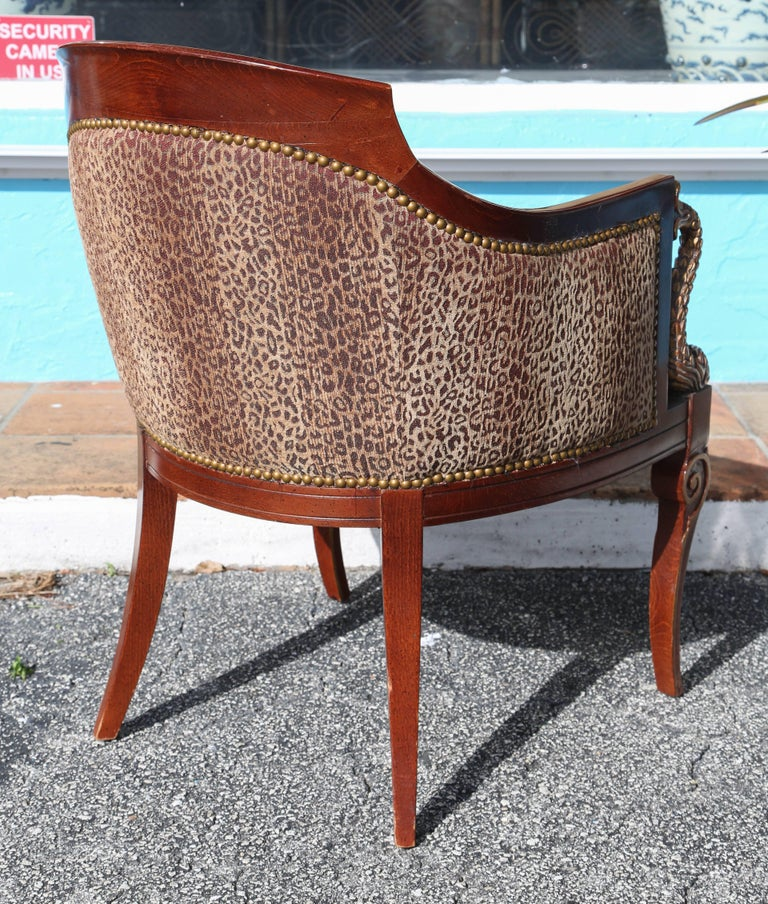 Fabric Pair of Hollywood Regency Tub Chairs For Sale