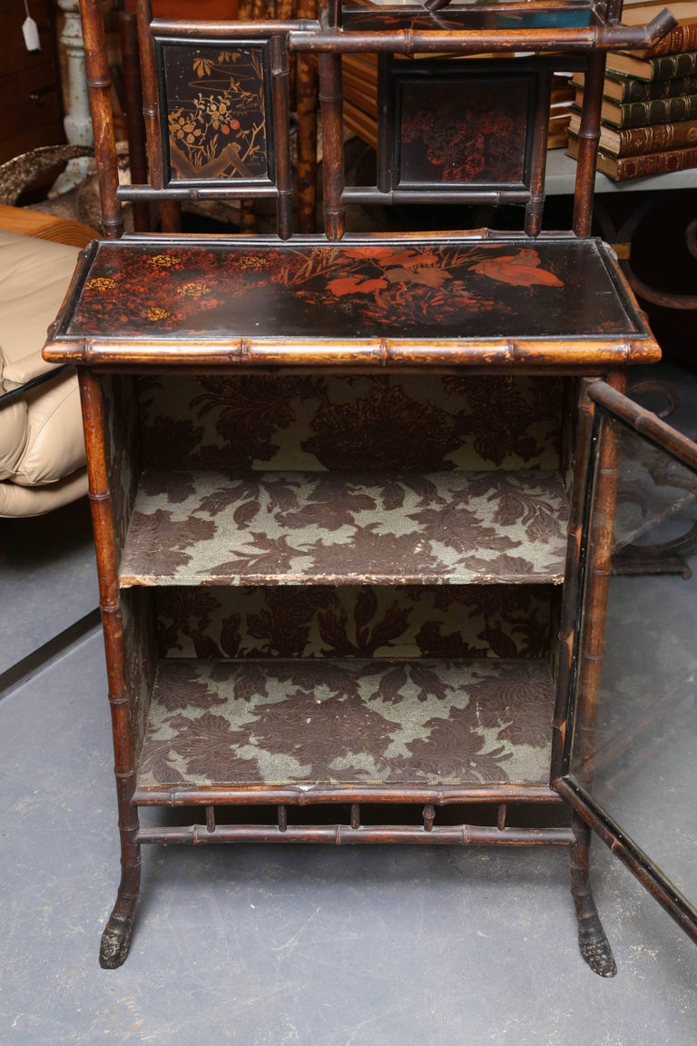 Superb 19th Century Chinoiserie English Bamboo Side Cabinet or Bookcase In Good Condition For Sale In West Palm Beach, FL