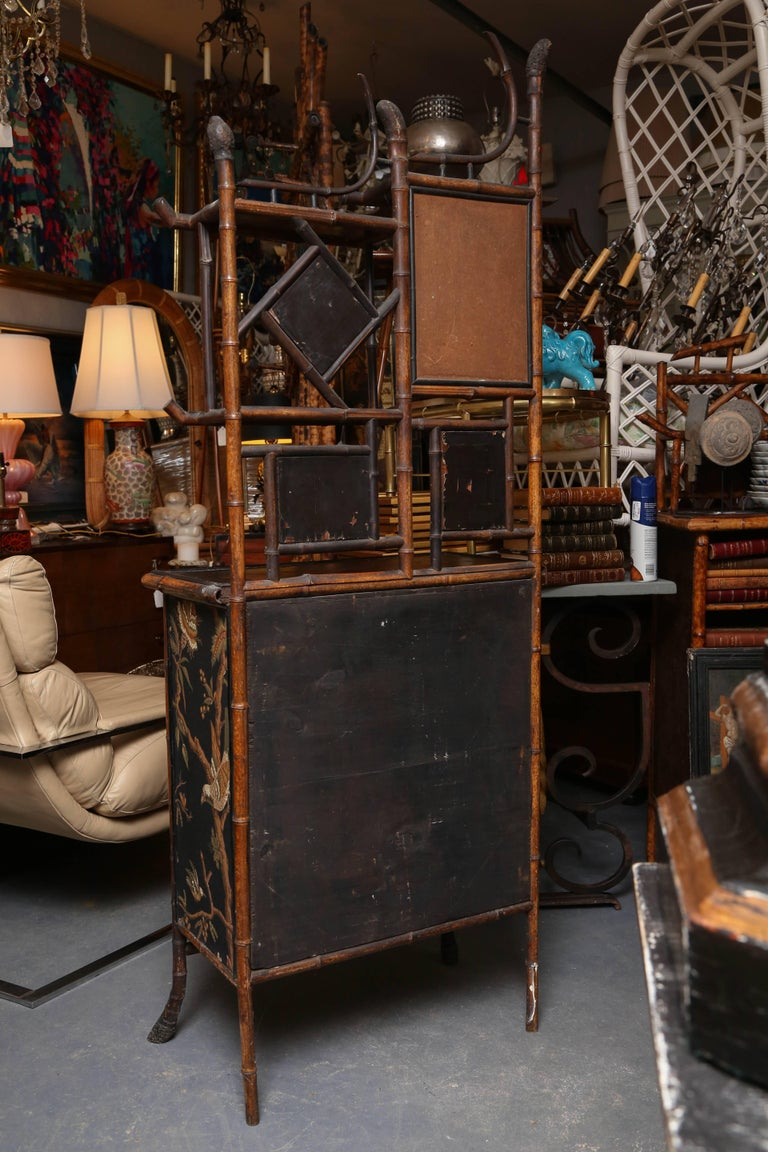 Superb 19th Century Chinoiserie English Bamboo Side Cabinet or Bookcase For Sale 6