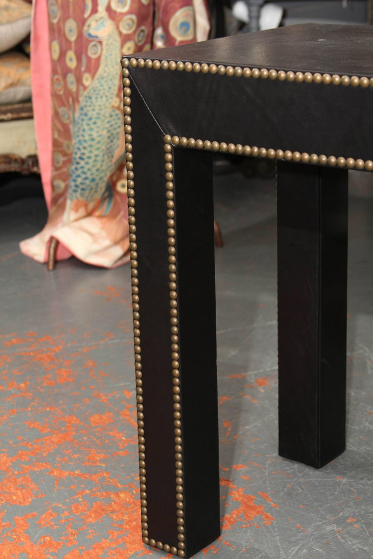 Modern Console Table in Black Leather and Nailhead Trim For Sale 1