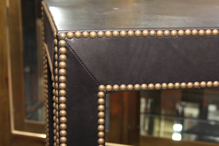 Modern Console Table in Black Leather and Nailhead Trim For Sale 2