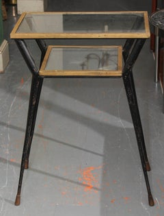 Tall Mid 20th  Century French Metal and Glass Side or Entry Table