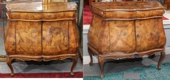 Pair Italian Olive Wood Bombe Chests