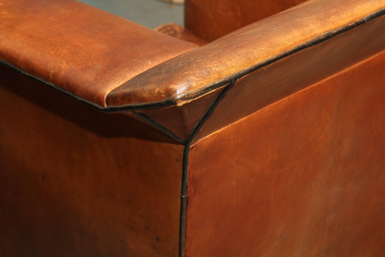 Pair of European Art Deco Even-Arm Club Chairs in Caramel Leather For Sale 1