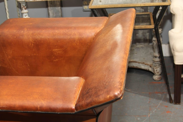Pair of European Art Deco Even-Arm Club Chairs in Caramel Leather For Sale 2