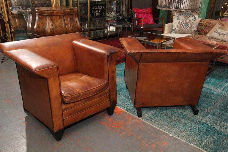 Pair of European Art Deco Even-Arm Club Chairs in Caramel Leather For Sale 6