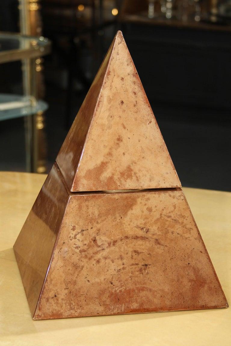 Italian Aldo Tura Lacquered Goatskin Pyramidal Ice Bucket Sculpture For Sale