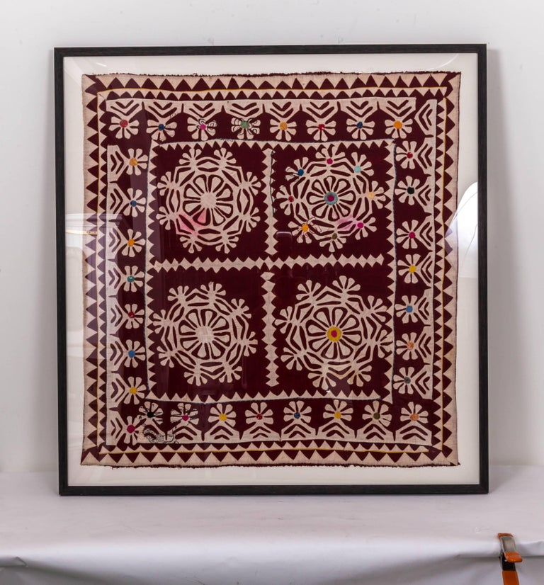 Indian Framed Antique Hand Patchwork from India For Sale
