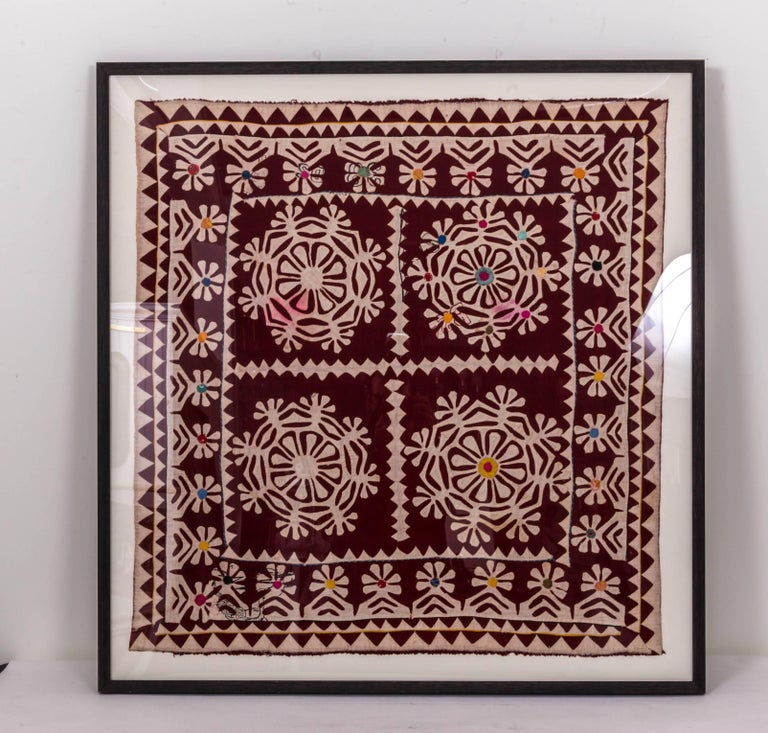 Framed Antique Hand Patchwork from India In Good Condition For Sale In Southampton, NY