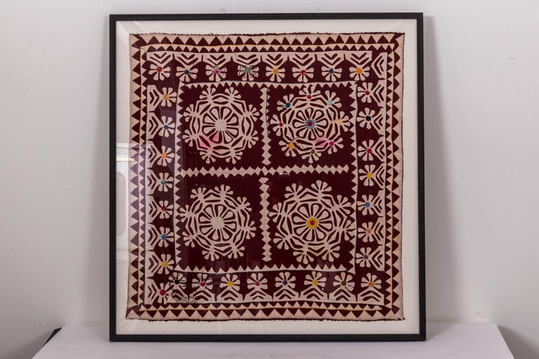 20th Century Framed Antique Hand Patchwork from India For Sale