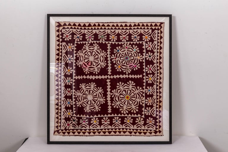 Cotton Framed Antique Hand Patchwork from India For Sale