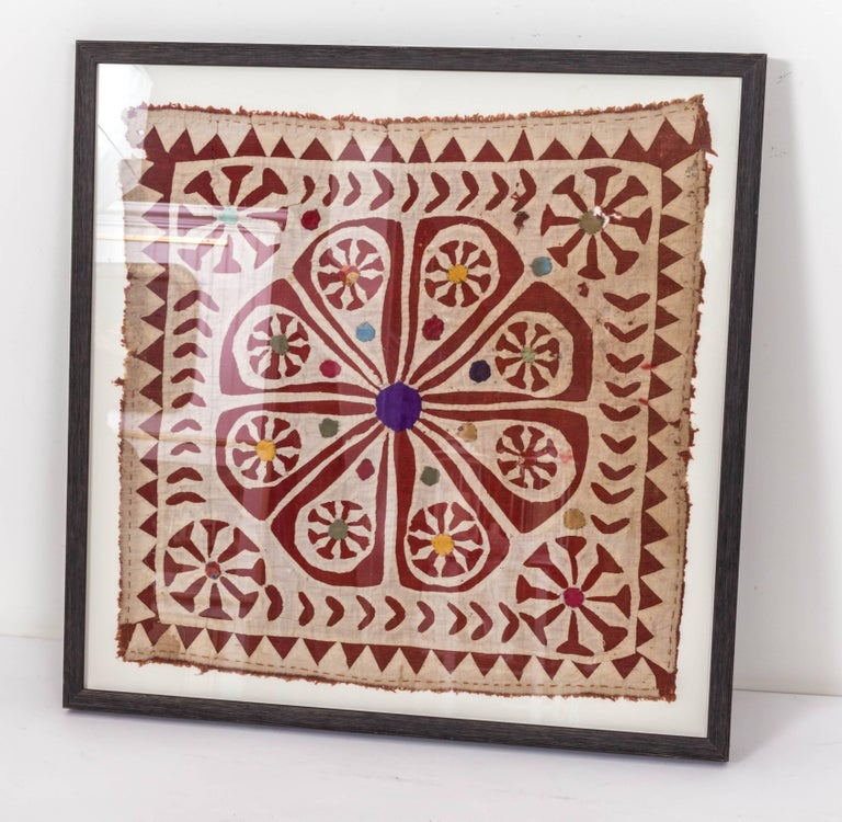 Indian Framed Antique Hand Patchwork Tapestry from India For Sale