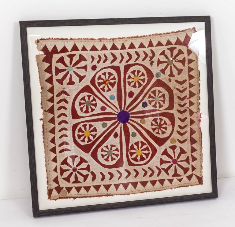Framed Antique Hand Patchwork Tapestry from India In Fair Condition For Sale In Southampton, NY