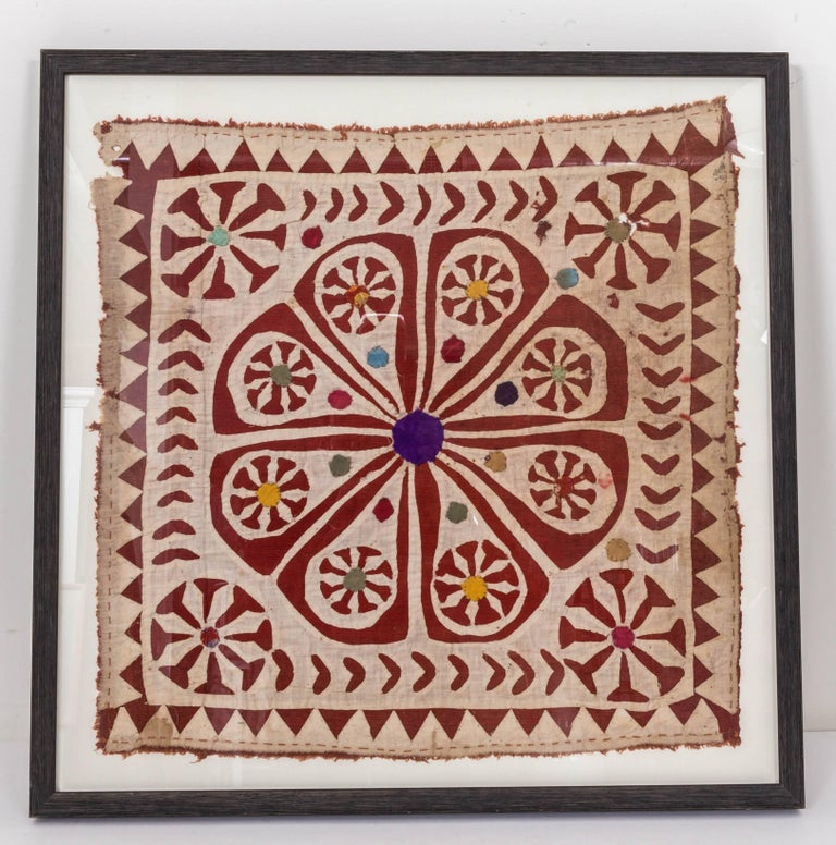 20th Century Framed Antique Hand Patchwork Tapestry from India For Sale
