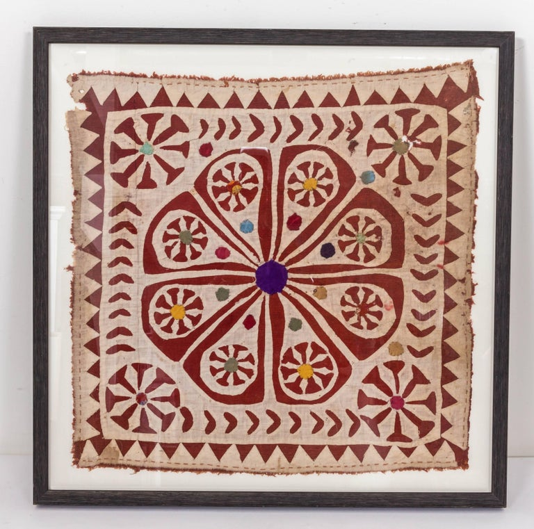 Cotton Framed Antique Hand Patchwork Tapestry from India For Sale